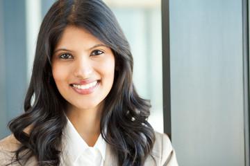 pretty young businesswoman closeup portrait