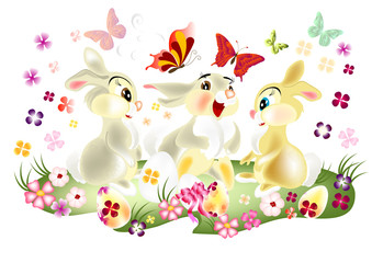 Easter card with three pretty  cartoon hare sit on spring lawn