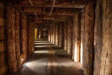 Fototapeta Underground corridor in the Wieliczka Salt Mine, Poland.