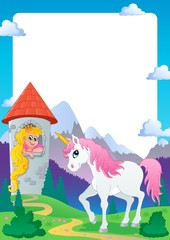 Foto op Canvas Pony Fairy tale theme frame 4