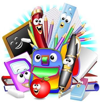 Back to School Cartoon Elements-Scuola Cancelleria e Zaino