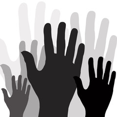 Large group of raising hands vector illustration