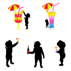 baby silhouette with cold drink illustration
