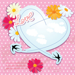Valentines day card with heart and swallows