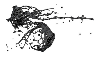 abstract black paint splash isolated on white