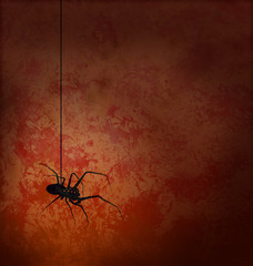 textured red background with spider silhouette horror image