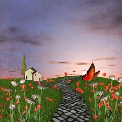 Wall Mural - Vintage country road