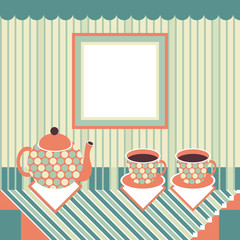 Retro style teapot and two cups standing on table