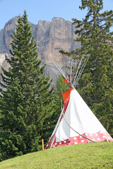 Spoed Foto op Canvas Indiërs Indian teepee amidst the mountain meadow