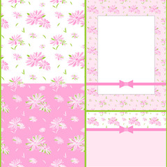 Set of Colorful Flower Seamless Pattern Card Design