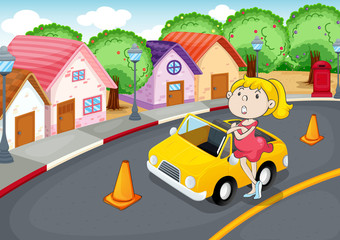 Poster Voitures enfants a girl with car