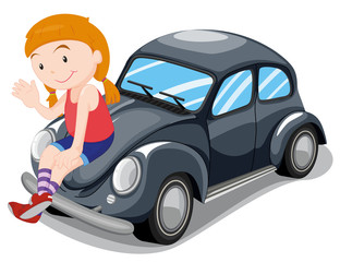 Printed roller blinds Cars girl sitting on car