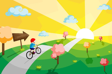 Wall Murals Turquoise Kid riding bicycle