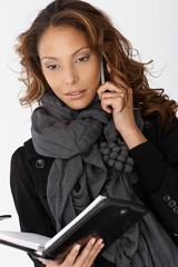 Portrait of attractive woman with mobile