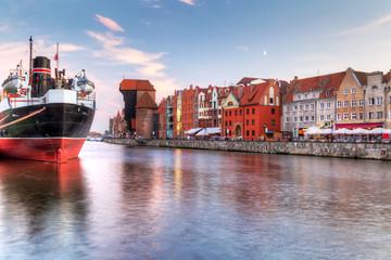 Obraz Stare Miasto nad Motławą w Gdańsku - fototapety do salonu