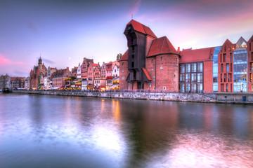 Fotobehang Stad aan het water Old town of Gdansk at Motlawa river, Poland