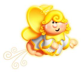 Whimsical Cartoon Angel Holding Harp