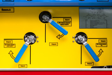 Control panel of fire truck