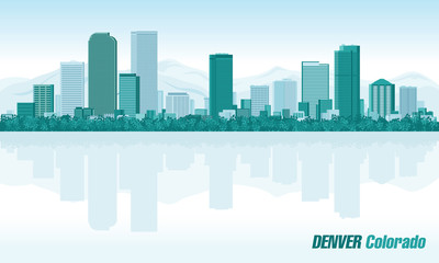 Fototapete - Denver Colorado detailed vector skyline