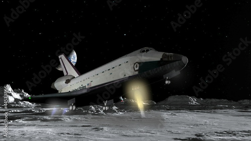 """Space Shuttle Moon Landing Fantasy CGI HD"" Stock footage ..."