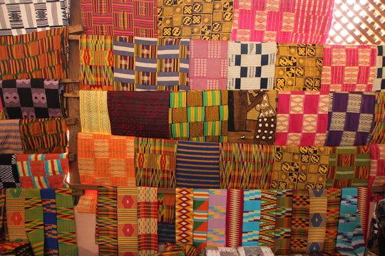 Kente Stoffe, Bonwire, Ashanti Region, Ghana, Westafrika