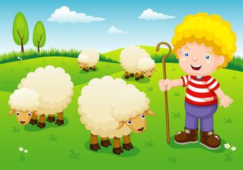 Poster Ranch illustration little shepherd vector