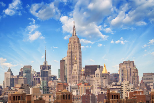 NEW YORK CITY - MARCH 12: The Empire State Building shines in th