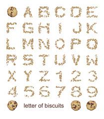 letters of biscuits