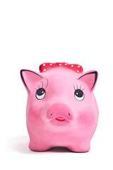 Front shot of the cute piggy ceramics moneybox on white backgrou