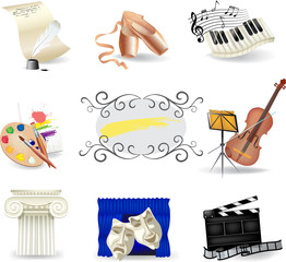 Set of art and entertainment symbols
