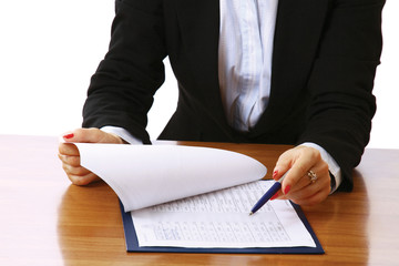 Close-up of a business papers lying in a folder