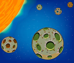 Geological planet and galaxy cartoon background