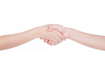 Closeup picture of woman shaking hands isolated on white backgro