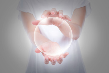 Woman hands hold empty bubble  over body