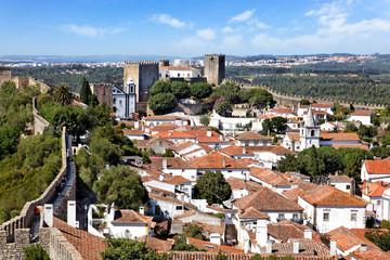 Blick auf Obidos, Portugal