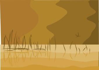 Monochrome lake landscape illustration