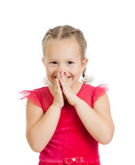 child girl with hands close to face isolated on white background