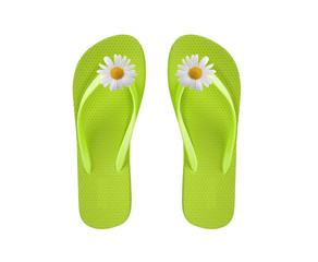 green beach shoes with chamomile flower isolated on white