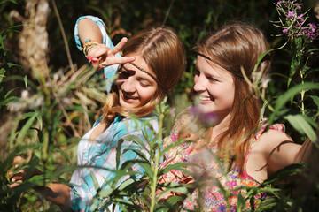 Happy young girls outdoor