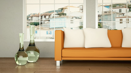 Wohndesign - Sofa orange