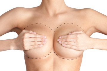 Boobs correction. Plastic surgery, isolated, white background