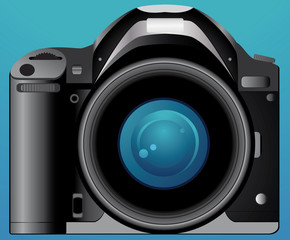 isolated digital photo camera on blue background