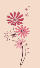 Abstract floral sample for various application on beige backgrou