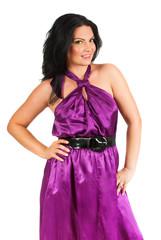 Beauty model in mauve dress
