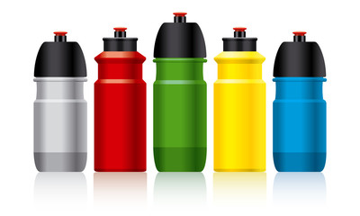 Set of color bicycle water bottles