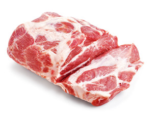 Raw pork meat isoleted on white