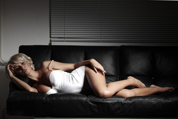 sexy woman on sofa