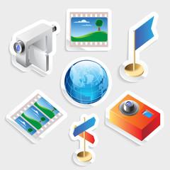 Sticker icon set for travel