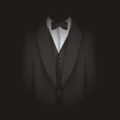 black suit with bow tie