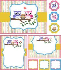 owl baby shower invitation card set